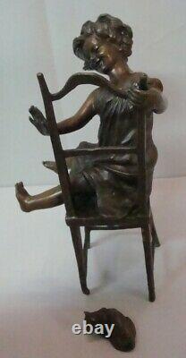 Statue Cat Girl Style Art Deco Art Nouveau Bronze Massive Sign