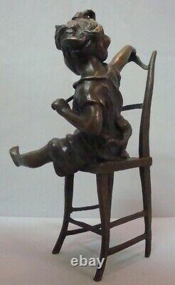 Statue Cat Girl Style Art Deco Style Art New Solid Bronze Sign