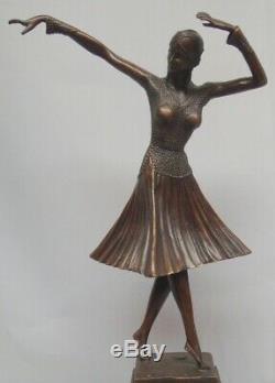 Statue Charleston Art Deco Style Art Nouveau Bronze Massive Sign