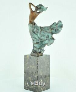 Statue Dancer Naked Art Deco Style Art Nouveau Bronze Massive