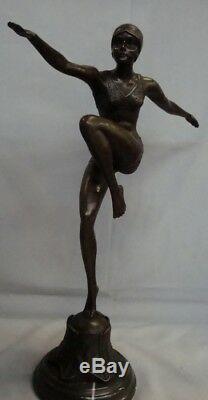 Statue Dancer Sexy Style Art Deco Art Nouveau Bronze Massive