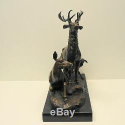 Statue Deer Hunting Animal Style Art Deco Art Nouveau Bronze Massive Sign