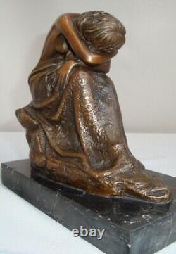Statue Demoiselle Nue Sexy Style Art Deco Style Art Nouveau Bronze Massive Sign