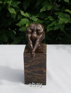 Statue Diver Nu Style Art Deco Style Art Nouveau Massive Bronze Sign