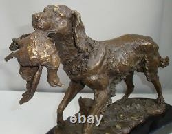 Statue Dog Hunting Style Art Deco Style Art Nouveau Bronze Massive Bronze