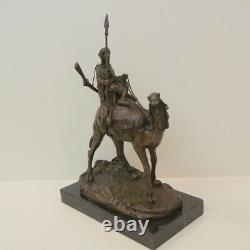 Statue Dromadaire Camel Touareg Style Art Deco Style Art Nouveau Massif Bronze
