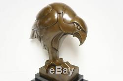 Statue Eagle Bird Animal Style Art Deco Art Nouveau Bronze Massive Sig