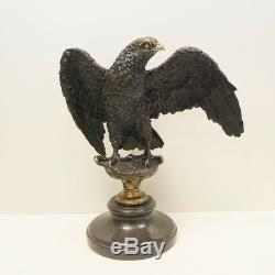 Statue Eagle Bird Style Art Deco Art Nouveau Bronze Massive Sign