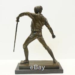 Statue Fencing Epee Style Art Deco Art Nouveau Bronze Massive Sign