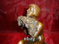 Statue Lady Nue Sexy Style Art Deco Style Art Nouveau Massif Bronze