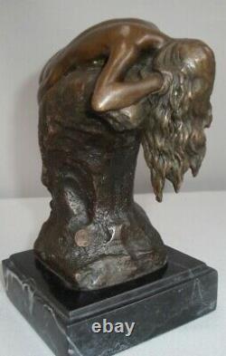 Statue Naked Sexy Style Art Deco Style Art Nouveau Bronze Massive Sign