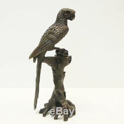 Statue Parrot Bird Animal Style Art Deco Art Nouveau Bronze Massive