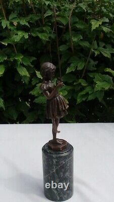Statue Pecheuse Art Art Deco Style Art Nouveau Massive Bronze Sign