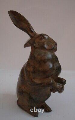 Statue Rabbit Lievre Hunting Style Art Deco Style Art Nouveau Bronze Massif