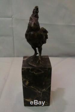 Statue Rooster Bird Art Deco Style Art Nouveau Bronze Massive Sign
