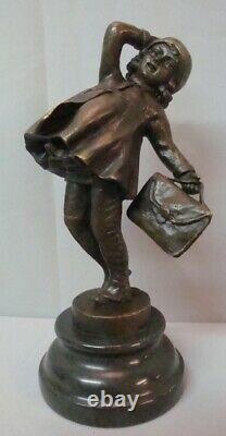 Statue Schoolgirl Style Art Deco Art Nouveau Bronze Massive Sign