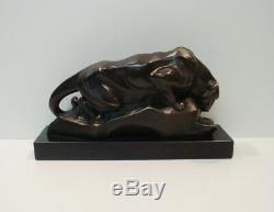 Statue Sculpture Cougar Animal Style Art Deco Art Nouveau Bronze Massive