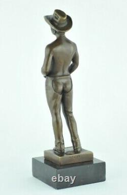 Statue Sculpture Cowboy Sexy Style Art Deco Style Art New Solid Bronze Sign