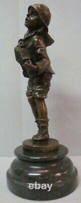 Statue Sculpture Garcon Accordeon Style Art Deco Style Art Nouveau Massif Bronze