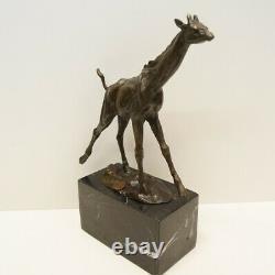 Statue Sculpture Giraffe Animal Tree Style Art Deco Style Art Nouveau Massive Bronze