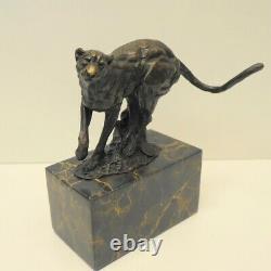 Statue Sculpture Guépard Animal Style Art Deco Style Art Nouveau Bronze Massi
