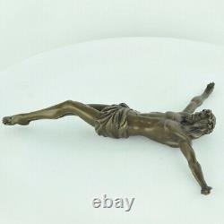 Statue Sculpture Jesus-christ Style Art Deco Style Art Nouveau Massif Bronze