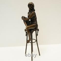 Statue Sculpture Lady Sexy Style Art Deco Style Art Nouveau Massif Bronze