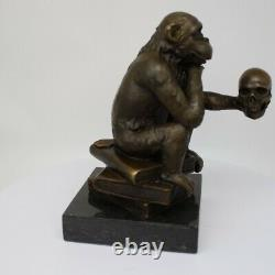 Statue Sculpture Monkey Animal Style Art Deco Style Art New Solid Bronze