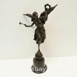 Statue Sculpture Victory Style Art Deco Art Nouveau Bronze Massive Sign