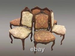 Suite Of Six Chairs Louis XV Walnut Style