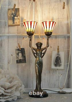 Table Lamp Art New Shade Tiffany Style Woman Sculpture Lamp New