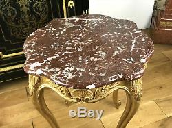 Table / Pedestal / Carved And Gilded Louis XV Style With A Top Marble