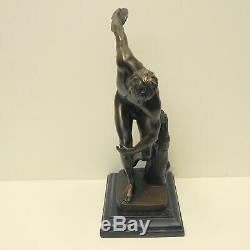 Thrower Statue Sculpture Nude Art Deco Style Art Nouveau Bronze Massive Sig