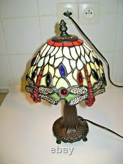 Tiffany-style Dragonfly Lamp In Glass Pate Metal Feet