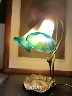 Tyffany Style Collar Lamp Art Nouveau Glass Marmoreen