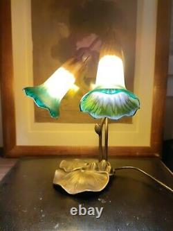 Tyffany Style Collar Lamp Art Nouveau Marmoreen Glass