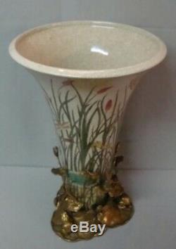 Vase Figurine Frog Style Art Deco Art Nouveau Porcelain Bronze