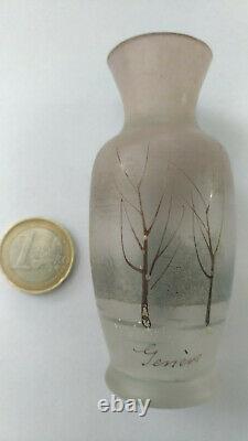Vase Miniature Art Nouveau 1900 Style Nancy Daum Signed Geneve Decoration Tree Email