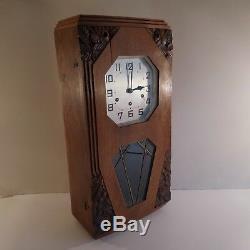 Wall Clock Chime Style Odo New Art Deco 1920 1930 France Twentieth N2055
