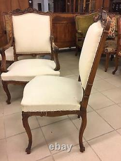 Walnut Lounge 4 Chairs Two Chairs Louis XV Style