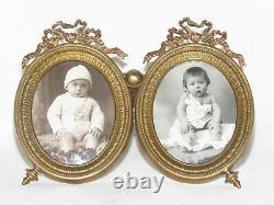02G2 ANCIEN CADRE BRONZE PORTE PHOTO DOUBLE PORTRAIT STYLE LOUIS XVI FIN XIX e