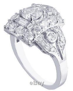10k or Blanc Rond Bague Fiançailles Diamantée Art Déco Style Ancien 2,30ct
