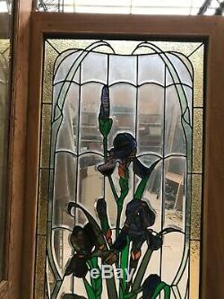 2 paires de vitraux style 1900 art nouveau