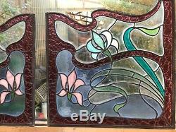 2 paires de vitraux style art nouveau