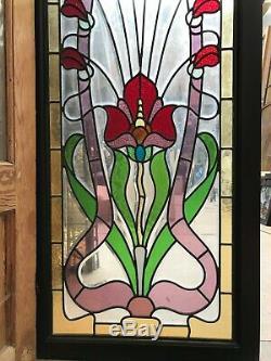 3 vitraux style 1900 art nouveau avec papillon