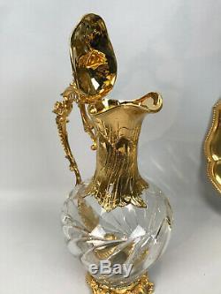 Aiguiere Et Son Presentoire En Cristal Et Metal Doré De Style Louis XV