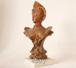 Ancien Art Nouveau Dame Bronze Spelter Statue Buste Villanis Style c. 1900 #2