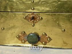 Ancien Coffret A Bijoux Epoque 1900 Style Art Nouveau Laiton Ecrin Boite Serrure