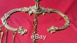 Ancien Serviteur De Cheminée Style Epoque Art Nouveau Complet Bronze Laiton
