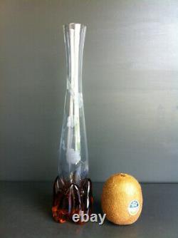 Ancien Vase Soliflore En Cristal Gravé À Décor De Fleurs Style Art Nouveau